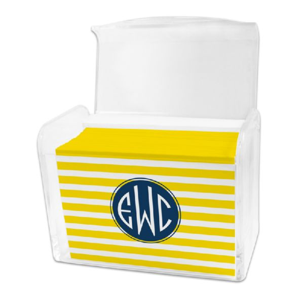 Cabana Personalized Stationery Note Card Set in a Lucite Holder (25 mini folded notes)