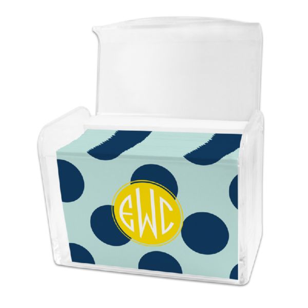 Jane Personalized Stationery Note Card Set in a Lucite Holder (25 mini folded notes)