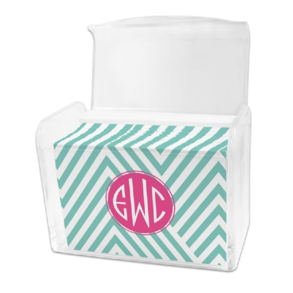 Modern Chevron Personalized Stationery Note Card Set in a Lucite Holder (25 mini folded notes)