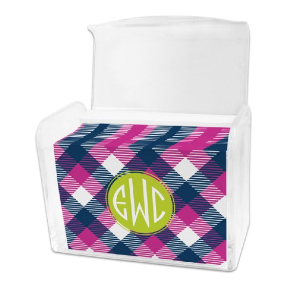 Tartan Personalized Stationery Note Card Set in a Lucite Holder (25 mini folded notes)