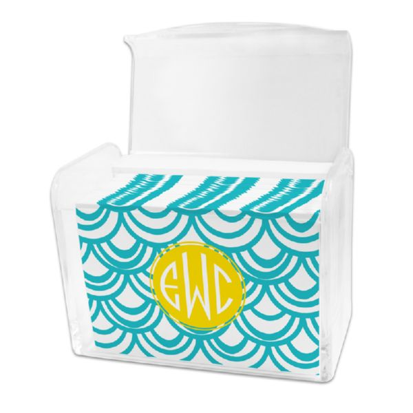 Seashells Personalized Stationery Note Card Set in a Lucite Holder (25 mini folded notes)