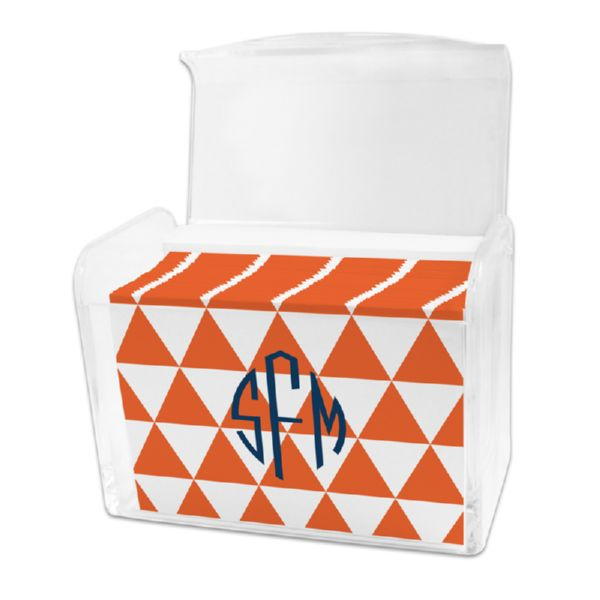 Triangles Personalized Stationery Note Card Set in a Lucite Holder (25 mini folded notes)