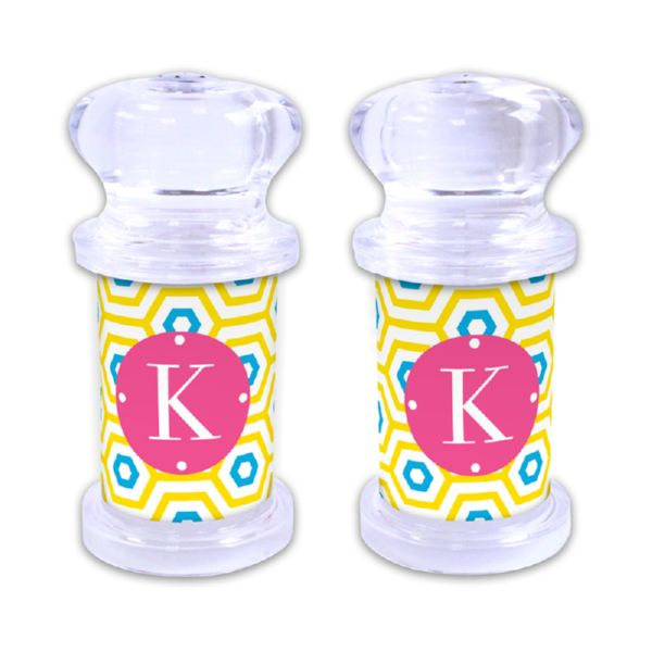Happy Hexagon Personalized Salt and Pepper Shaker