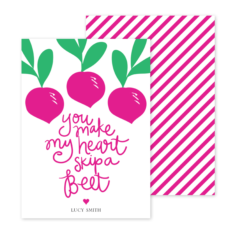 Beet Personalized Valentines Day Cards