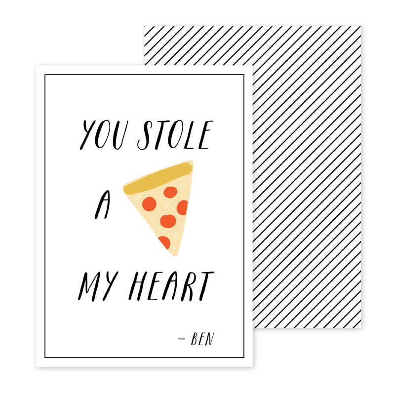 Pizza Personalized Valentines Day Cards