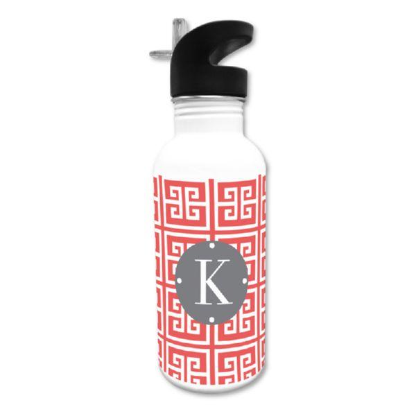 Greek Key Personalized Water Bottle, 20 oz.