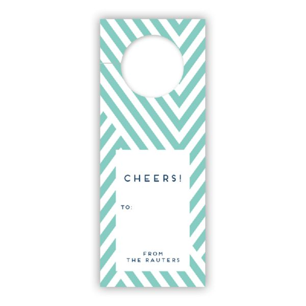 Modern Chevron Personalized Wine Tags, set of 8