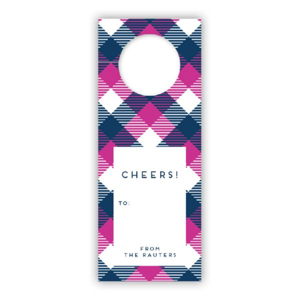 Tartan Personalized Wine Tags, set of 8