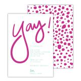 Yay! Deluxe Flat Invitation or Save the Date Card (25 cards)
