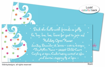 Blue - white Christmas invitations, announcements or holiday greeting cards, personalized