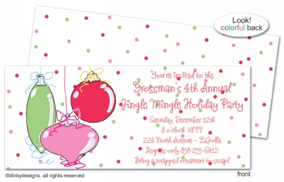 Jingle bulbs invitations, announcements or holiday greeting cards, personalized