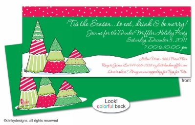 Christmas tree row invitations, announcements or holiday greeting cards, personalized