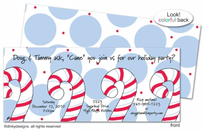Dandy candy canes invitations, announcements or holiday greeting cards, personalized