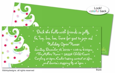 Green - white Christmas invitations, announcements or holiday greeting cards, personalized