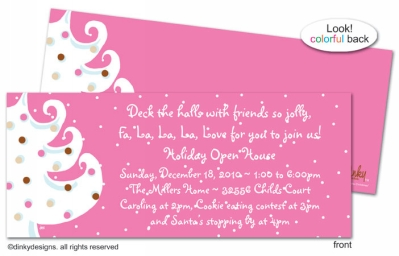 Pink - white Christmas invitations, announcements or holiday greeting cards, personalized