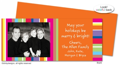Seasonal stripes invitations, announcements or holiday greeting cards, personalized with digitally printed photos