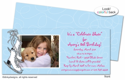 Figure 8 skates invitations, announcements or holiday greeting cards, personalized with digitally printed photos