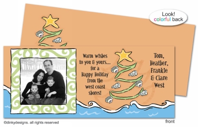 Christmas is a beach invitations, announcements or holiday greeting cards, personalized with digitally printed photos