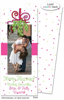 Mistletoe Christmas kisses invitations, announcements or holiday greeting cards, personalized with digitally printed photos