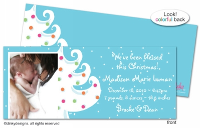 Blue - white Christmas invitations, announcements or holiday greeting cards, personalized with digitally printed photos