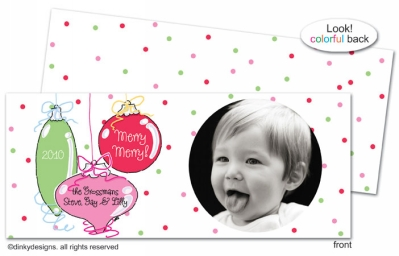 Jingle bulbs invitations, announcements or holiday greeting cards, personalized with digitally printed photos