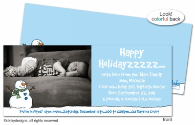 Smiling snowman invitations, announcements or holiday greeting cards, personalized with digitally printed photos
