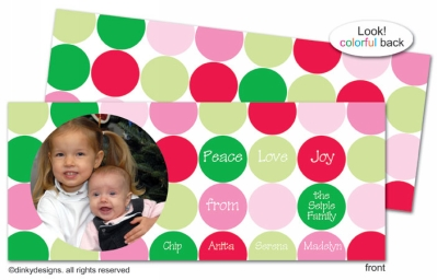 Polka dot holiday invitations, announcements or holiday greeting cards, personalized with digitally printed photos