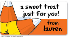 Candy corns calling card stickers, gift tags or shipping labels, personalized