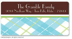 Chocolate argyle  calling card stickers, gift tags or shipping labels, personalized