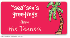 Holiday palm tree  calling card stickers, gift tags or shipping labels, personalized