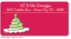 Scallop-style Christmas tree calling card stickers, gift tags or shipping labels, personalized