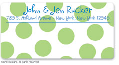 Lime holiday dots calling card stickers, gift tags or shipping labels, personalized