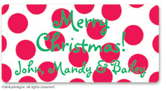 Cranberry holiday dots calling card stickers, gift tags or shipping labels, personalized
