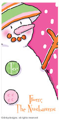 Pinky dot snowman calling card stickers, gift tags or shipping labels, personalized