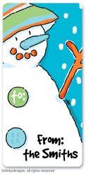 Blue man snowman calling card stickers, gift tags or shipping labels, personalized