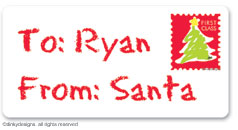 Letter to Santa calling card stickers, gift tags or shipping labels, personalized