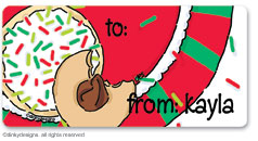 Christmas cookies calling card stickers, gift tags or shipping labels, personalized