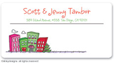 Urban living - holiday calling card stickers, gift tags or shipping labels, personalized