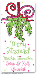 Mistletoe Christmas kisses calling card stickers, gift tags or shipping labels, personalized