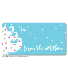 Blue - white Christmas calling card stickers, gift tags or shipping labels, personalized
