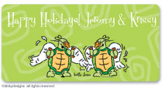 Two turtle doves calling card stickers, gift tags or shipping labels, personalized
