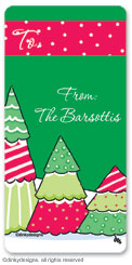 Christmas tree row calling card stickers, gift tags or shipping labels, personalized