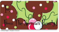 Pink berry holly calling card stickers, gift tags or shipping labels, personalized