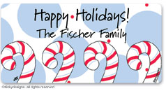 Dandy candy canes calling card stickers, gift tags or shipping labels, personalized