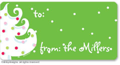 Green - white Christmas calling card stickers, gift tags or shipping labels, personalized