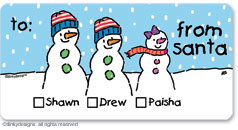 There's Snow Family like your Family calling card stickers, gift tags or shipping labels, personalized