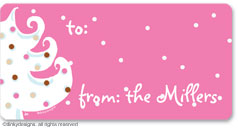 Pink - white Christmas calling card stickers, gift tags or shipping labels, personalized