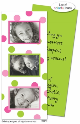 Preppy dots folded invitations, announcements or holiday greeting cards, personalized with digitally printed photos