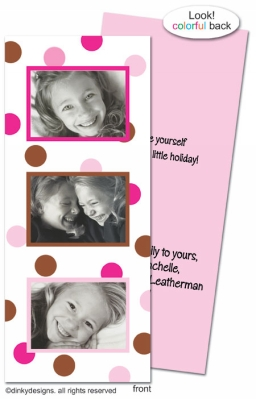 Chocolate and pink dots folded invitations, announcements or holiday greeting cards, personalized with digitally printed photos