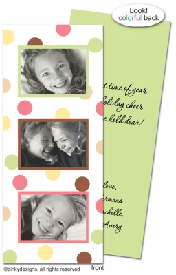 November polka dots folded invitations, announcements or holiday greeting cards, personalized with digitally printed photos